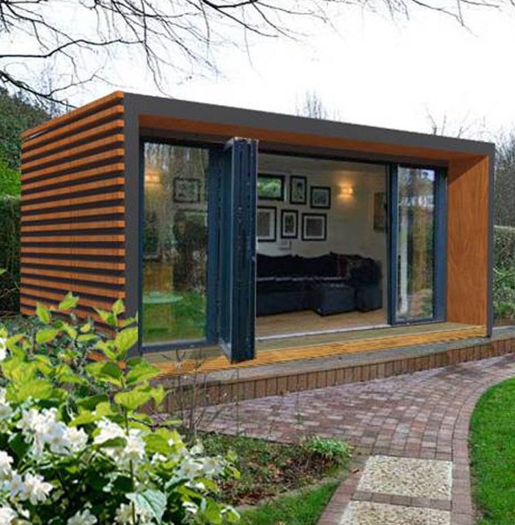 SIPs garden rooms showing flowers and a path