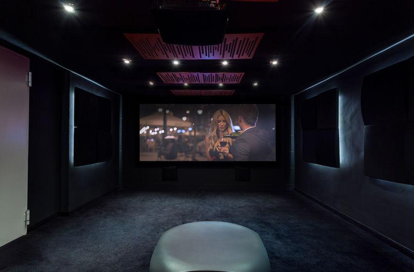 sips garden room home cinema showing a movie screen