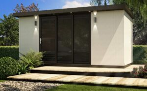 Garden Pod with 3 doors finished in a cream colour